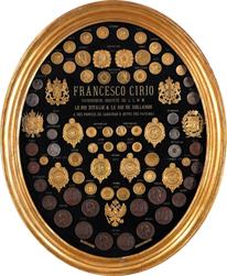 Medagliere con riconoscimenti a Francesco Cirio, anni 1860-1870